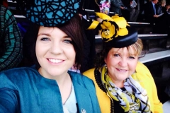 Tara-and-I-at-the-Warrnambool-May-Race-Carnival.-Tara-wearing-a-round-centred-percher-style-hat-covered-in-the-fabric-of-her